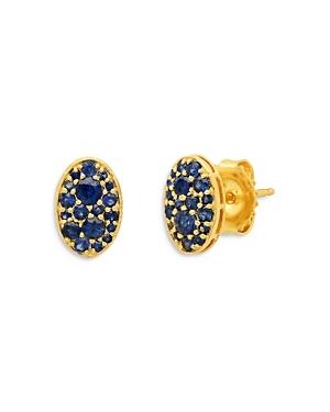 18K Yellow Gold Les Chevalieres Blue Tsavorite Oval Cluster Stud Earrings