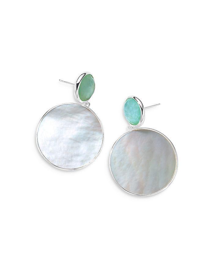 IPPOLITA Earrings STERLING SILVER WONDERLAND STONE & SHELL SNOWMAN EARRINGS IN CELERY DOUBLET & MOTHER-OF-PEARL SLICE