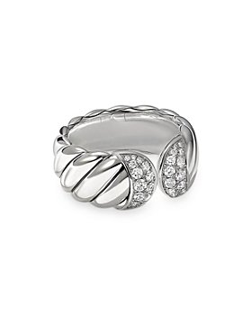 David Yurman - Sterling Silver Sculpted Cable Ring with Pavé Diamonds