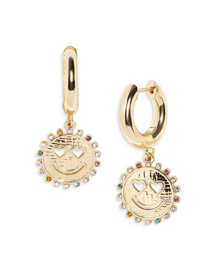 Baublebar Earrings JUBILEE MULTICOLOR STONE SMILEY FACE CHARM HOOP EARRINGS IN GOLD TONE