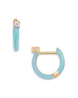 Baublebar Earrings MABEL CUBIC ZIRCONIA COLOR BLOCKED HUGGIE HOOP EARRINGS IN 18K GOLD PLATED STERLING SILVER