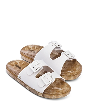 Women's Wide Slip On Buckled Sandals