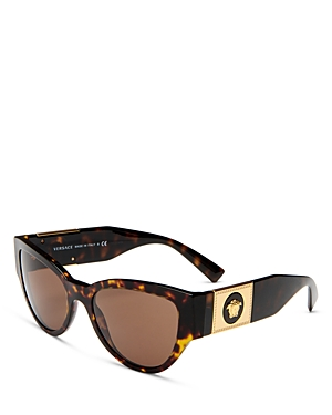 Versace Women's Cat Eye Sunglasses, 55mm In Havana /dark Brown