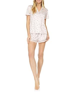 Katrina Printed Chartreuse Pajama Shorts Set