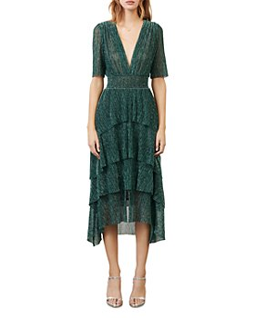 Maje - Ruffine Lurex Ruffled Midi Dress