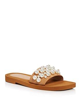 Stuart Weitzman - Women's Goldie Embellished Slide Sandals