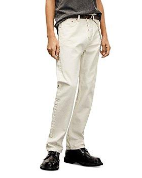 The Kooples - Straight Cut Ripped Ecru Jeans