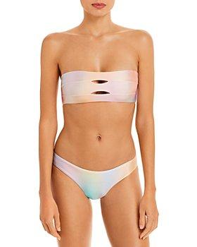PQ Swim - Ombré Bandeau Bikini Top & Ruched Bottom