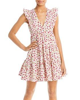 AQUA - Floral V-Neck Tiered Mini Dress - 100% Exclusive