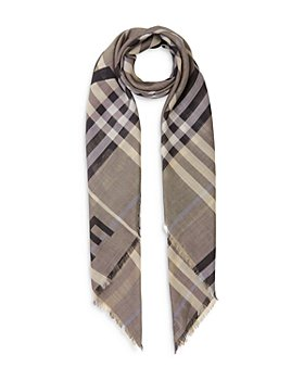 Burberry - Horseferry Print Check Wool & Silk Large Square Scarf