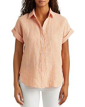 Ralph Lauren - Gingham Linen Short Dolman Sleeve Shirt