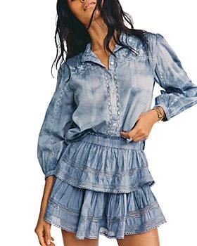 LoveShackFancy - Washed Denim Ruffle Mini Skirt