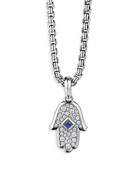 David Yurman - 18K White Gold Hamsa Amulet with Blue Sapphires & Diamonds