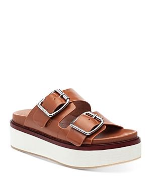 J/Slides Women's Bowie Double Buckle Leather Platform Slide Sandals