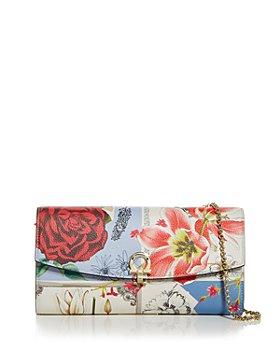 Salvatore Ferragamo - Icona Floral Leather Chain Wallet