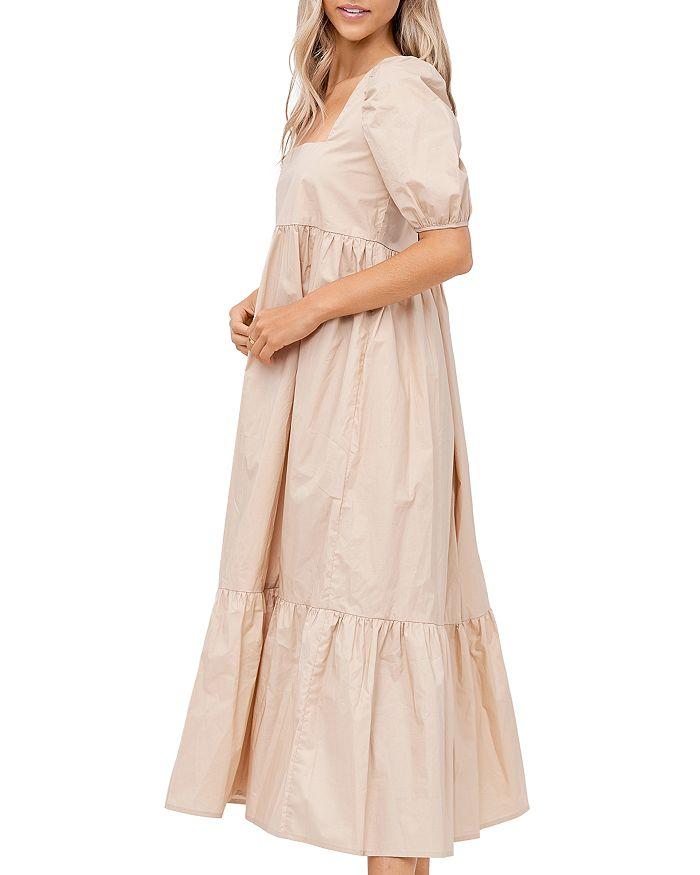 EN SAISON Midi dresses SQUARE NECK PUFF SLEEVE MIDI DRESS