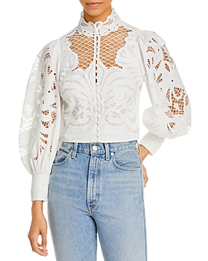 Alice And Olivia ALICE AND OLIVIA YAZ EYELET LACE CROP TOP
