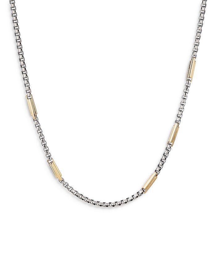 "David Yurman - Sterling Silver & 18K Yellow Gold Streamline® Station Box Chain Necklace, 24"""