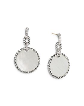 David Yurman - Sterling Silver DY Elements® Mother-of-Pearl & Diamond Drop Earrings