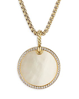 David Yurman - 18K Yellow Gold DY Elements® Disc Pendant with Mother-of-Pearl & Diamonds