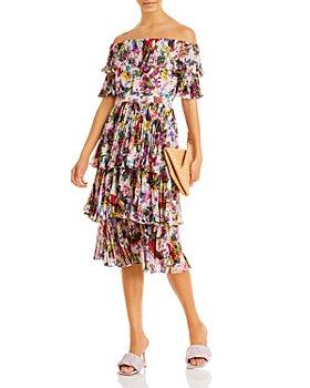 AQUA - Floral Pleated Off The Shoulder Dress - 100% Exclusive