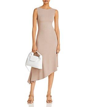 AQUA - Ribbed Knit Asymmetric Hem Dress - 100% Exclusive