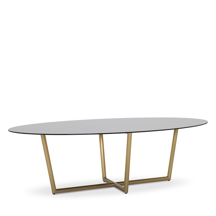 Mitchell Gold Bob Williams MODERN OVAL SMOKED GLASS DINING TABLE, 96 X 54