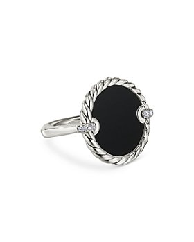 David Yurman - Sterling Silver DY Elements® Black Onyx and Diamond Ring