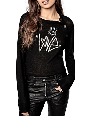 Zadig & Voltaire LOVE STUDDED CASHMERE SWEATER
