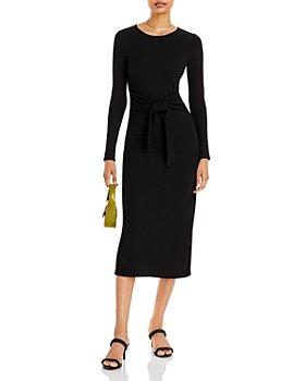 AQUA - Waist Tie Long Sleeve Midi Dress - 100% Exclusive