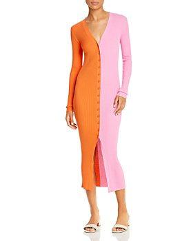 STAUD - Shoko Color Block Ribbed Sweater Dress