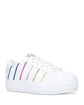 KURT GEIGER LONDON - Women's Laney Rainbow Stripe Low Top Platform Sneakers