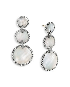 David Yurman - Sterling Silver DY Elements® Triple Drop Earrings with Mother-of-Pearl & Diamonds