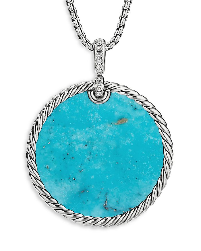 David Yurman - Sterling Silver DY Elements® Turquoise, Mother-of-Pearl & Diamond Disc Pendant