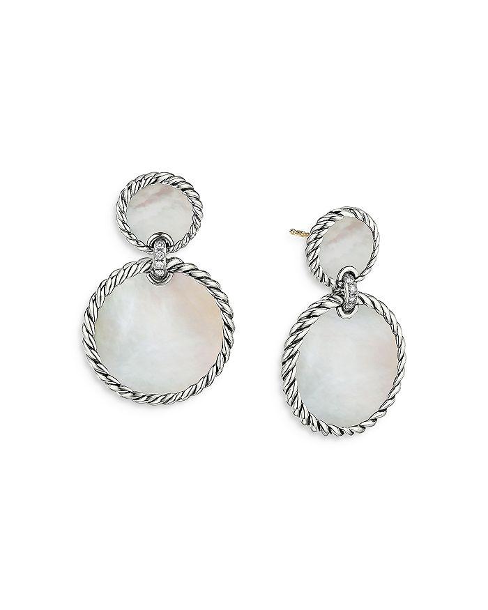 David Yurman - Sterling Silver DY Elements® Double Drop Earrings with Mother-of-Pearl & Diamonds