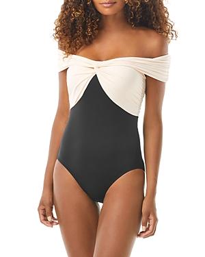Off Shoulder Color Blocked One Piece Swimsuit