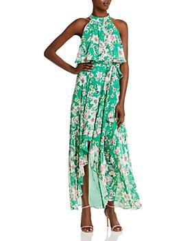 Eliza J - Floral Halter Chiffon Gown