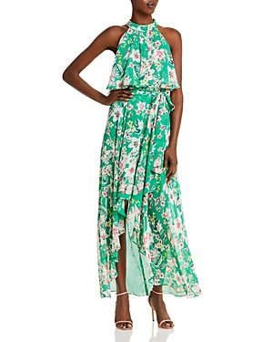 Floral Halter Chiffon Gown