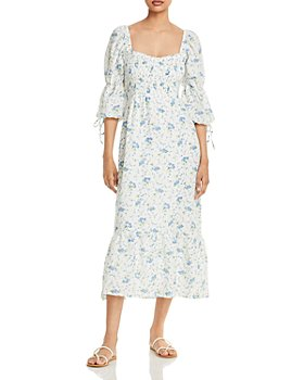 Faithfull the Brand - Marita Midi Smocked Square Neck Floral Dress