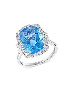 Bloomingdale's Blue Topaz & Diamond Ring in 14K White Gold - 100% Exclusive