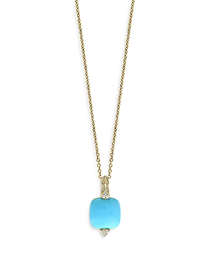 Bloomingdale's Turquoise & Diamond Pendant Necklace in 14K Yellow Gold, 18 - 100% Exclusive
