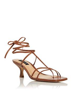 AQUA - Women's Ankle Tie Kitten Heel Sandals