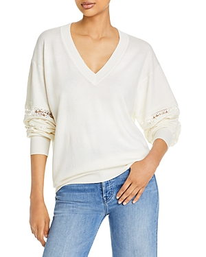 See by Chloe Lace Inset Sleeve V-Neck Sweater