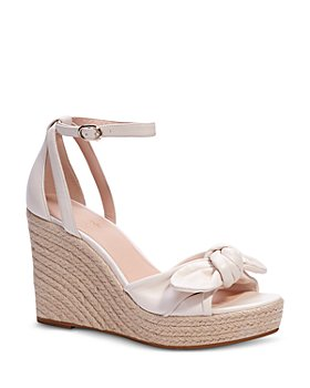 kate spade new york - Women's Tianna Almond Toe Knotted Bow Leather Espadrille Wedge Sandals
