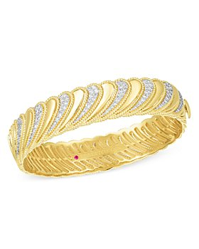 Roberto Coin - 18K Yellow Gold Byzantine Barocco Diamond Bangle Bracelet