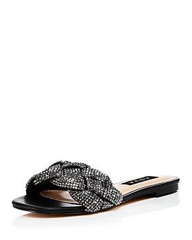 AQUA - Women's Valey Braided Rhinestone Slide Sandals - 100% Exclusive