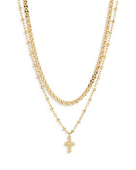 "Nadri - Double Chain Cross Pendant Necklace, 16"""