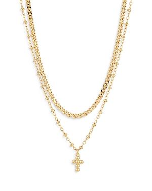 Nadri Double Chain Cross Pendant Necklace, 16