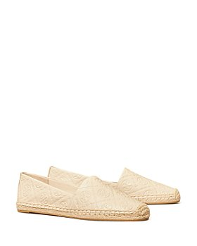 Tory Burch - Women's T Monogram Embossed Leather Espadrille Loafers