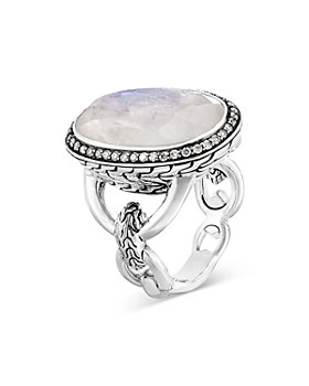 JOHN HARDY - Sterling Silver Classic Chain Oval Ring with Gray Diamonds & Rainbow Moonstone